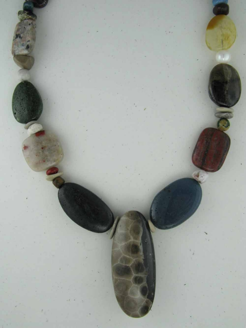 Beach Stone Necklace with Petoskey Pendant