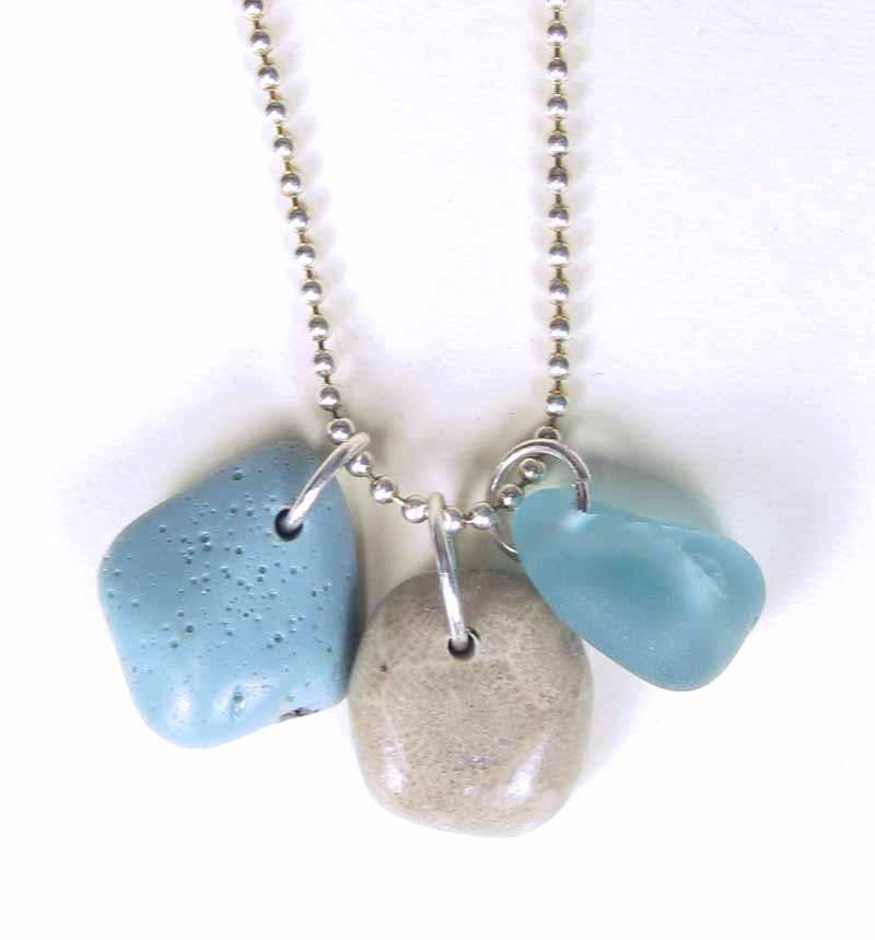 Leland blue petoskey and beach glass trio necklace aloadofball Images