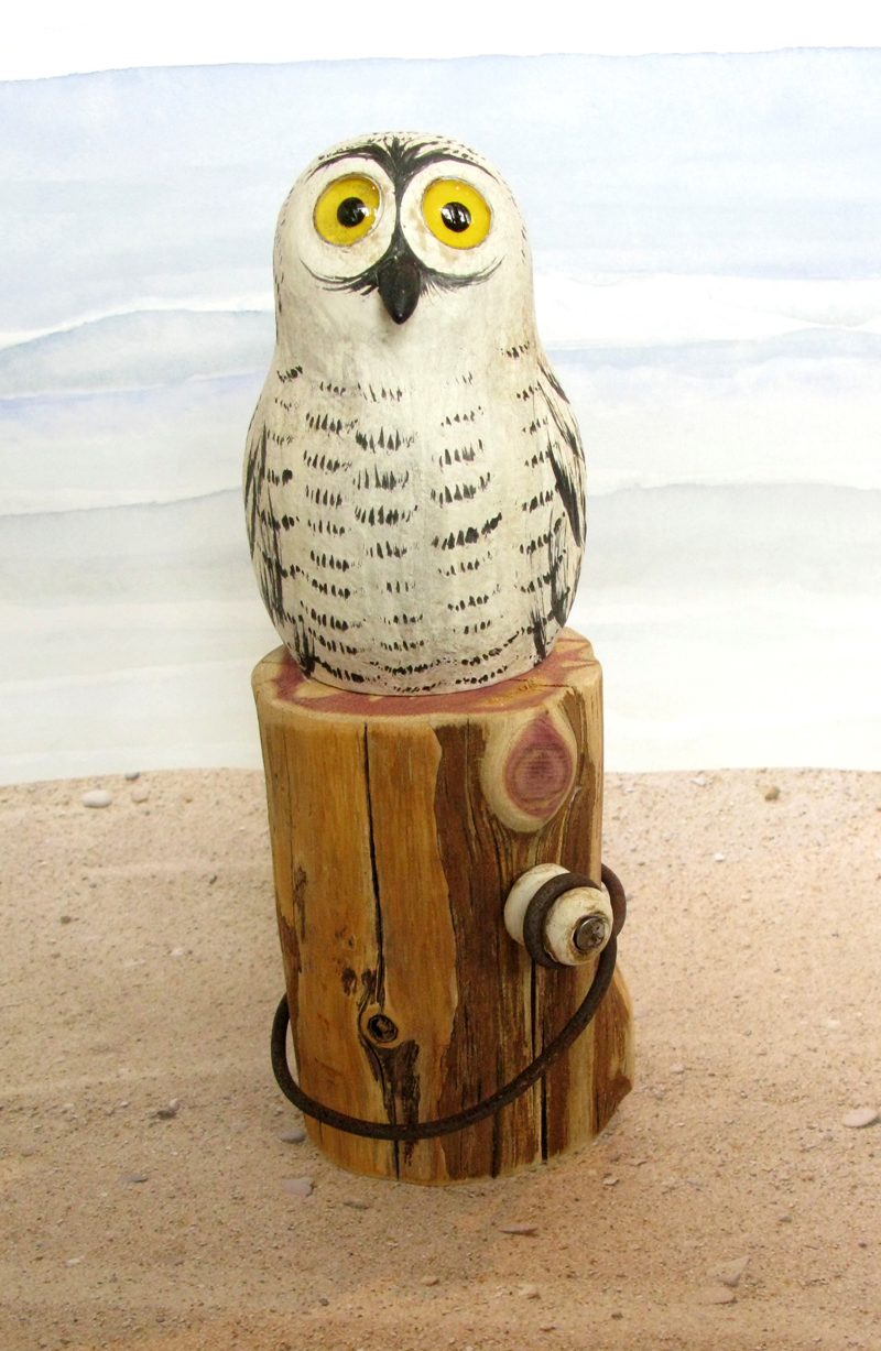 Carved Wood Baby Snowy Owl