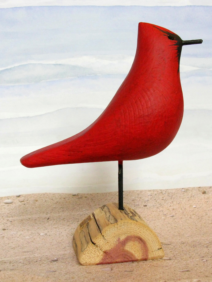 Carved Wood Cardinal Large