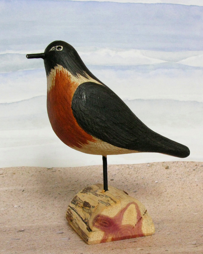 Carved Wood Robin Small