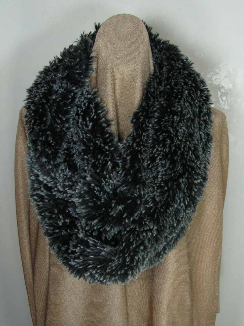Infinity Scarf in Silver-Tipped Black Fur