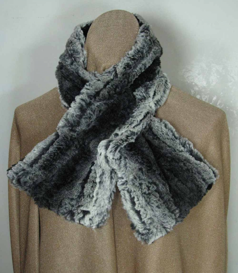 Pull Through Scarf in Chinchilla Black Faux Fur