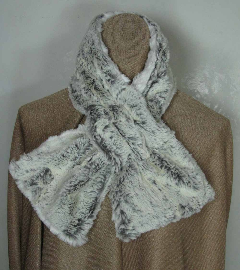 Pull Through Scarf in Khaki Faux Fur