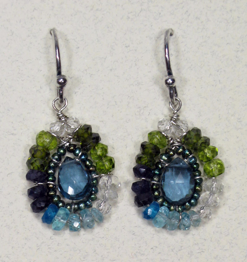 Teardrop Gemstone Earrings in Teal Mix with London Blue Topaz
