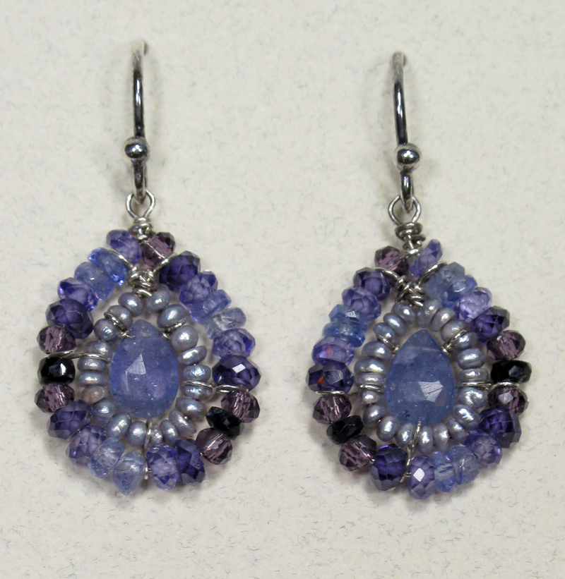 Teardrop Gemstone Earrings in Plum Mix with Tanzanite