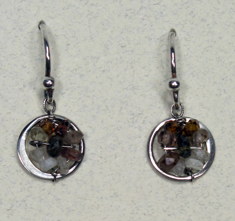 Round Woven Gemstone Earrings in Cognac Mix