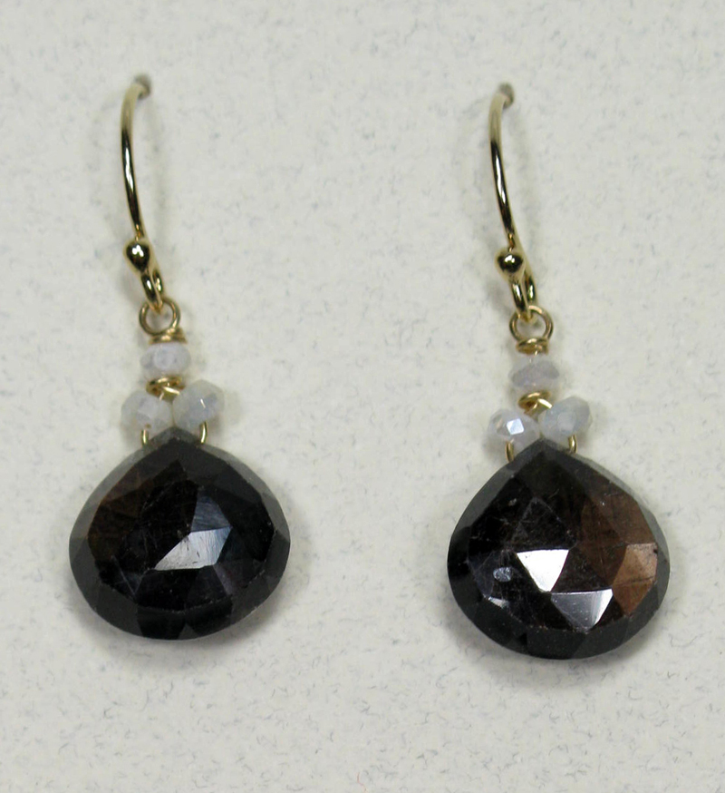 Black and White Sapphire Briolette Earrings