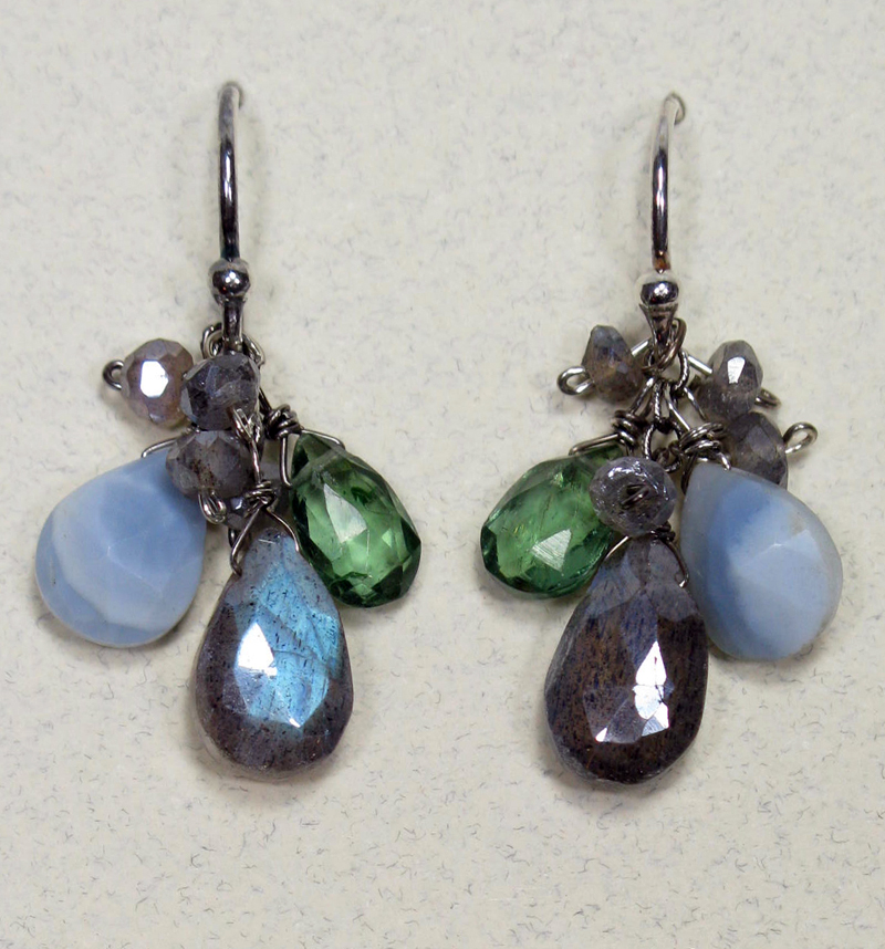 Gemstone Cluster Earrings in Labradorite Mix