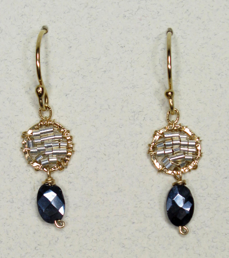 Tiny Round Woven Earrings with Spinel Drop