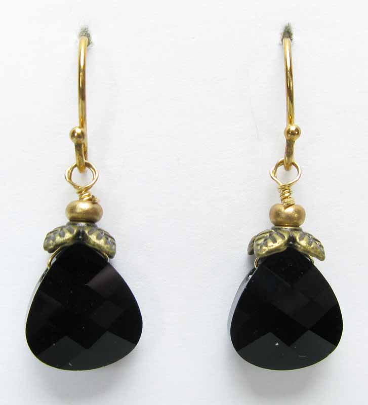 Faceted Briolette Earrings in Onyx