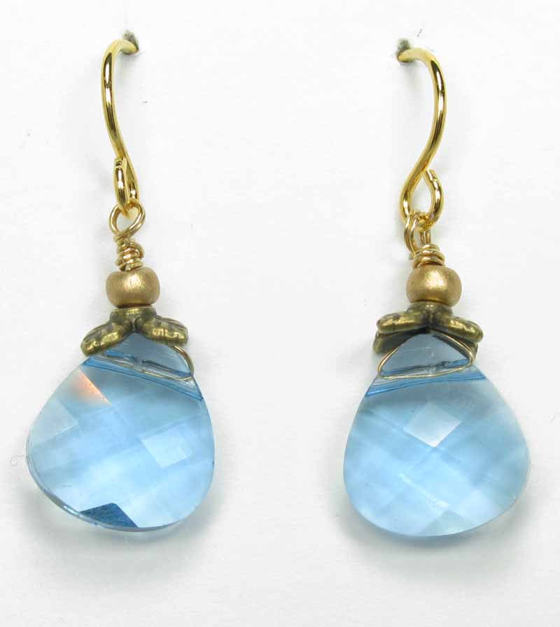 Faceted Briolette Earrings in Aqua
