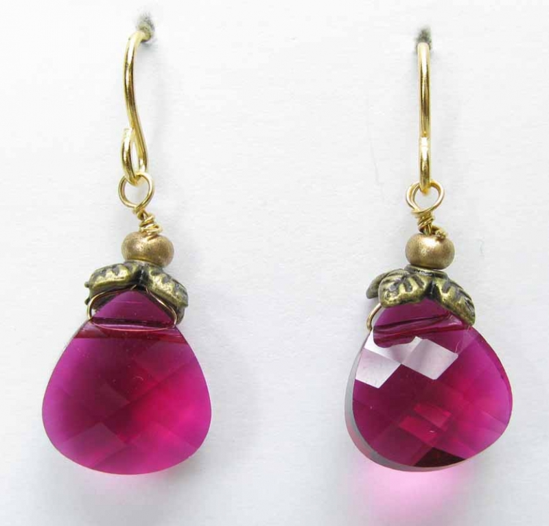 Faceted Briolette Earrings in Cranberry