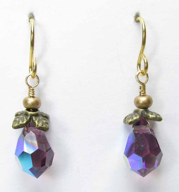 Faceted Crystal Drop Earrings in Violet