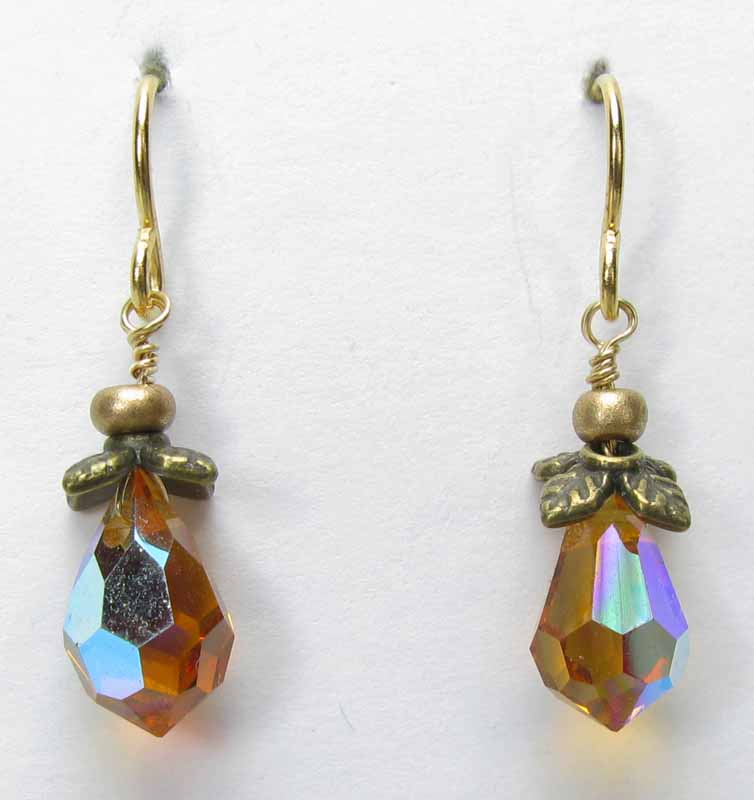 Faceted Crystal Drop Earrings in Topaz