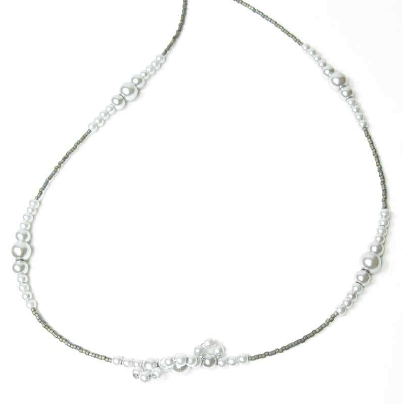 Layering Lace Pearl Necklace in Silver Pearls