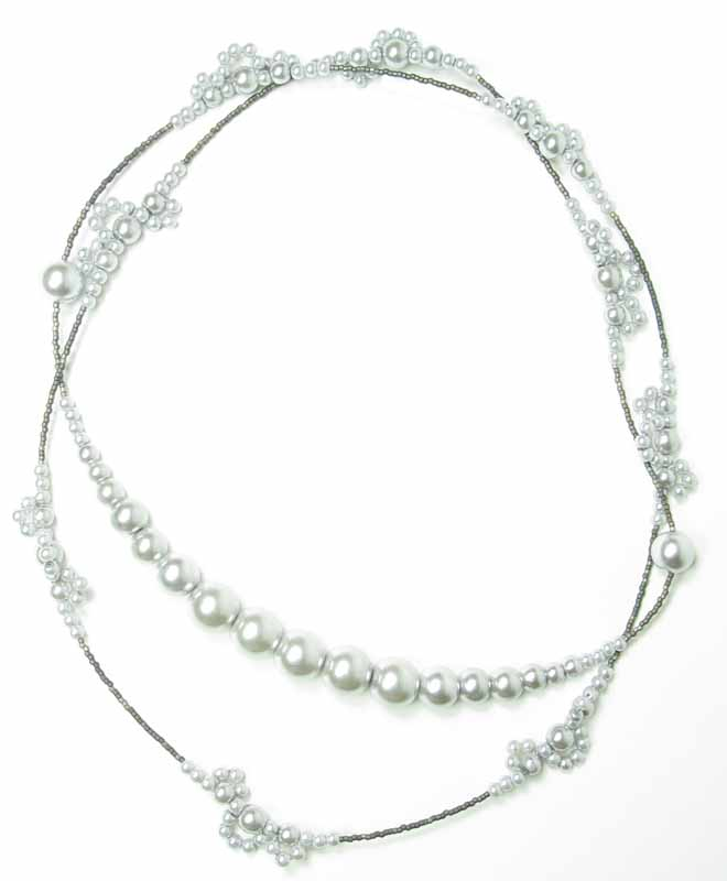 Long Lace Pearl Necklace in Silver Pearls