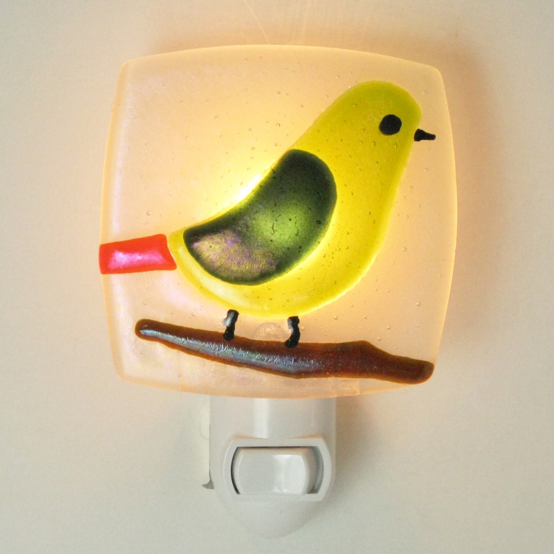 Glass Nightlight - Bird in Kiwi