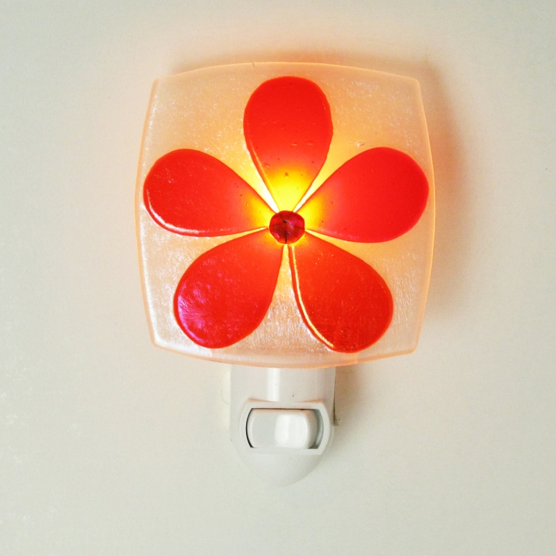 Glass Nightlight - Pansy in Orange