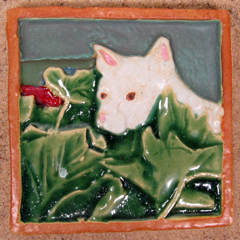 Cat and Vines Tile