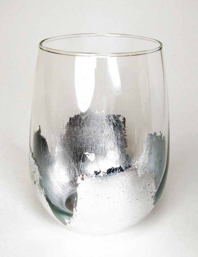Silver Leaf Stemless Wine Glass