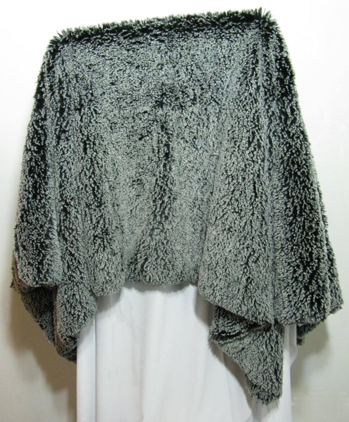 Throw in Silver Tipped Black Faux Fur