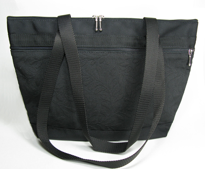 Large French Satchel Tote - Black Leaf Impression
