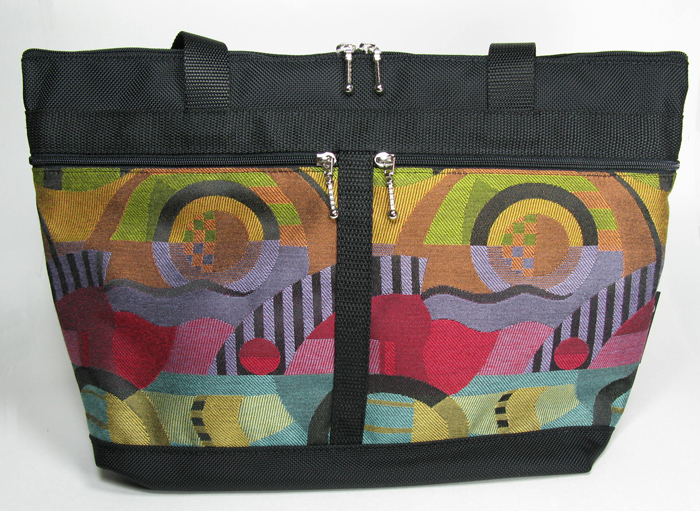 Large French Satchel Tote - Kandinsky Brights