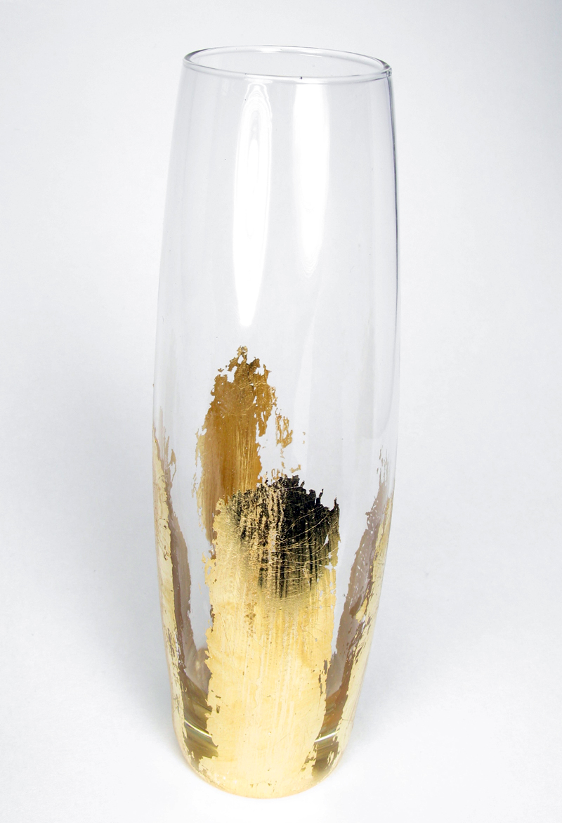 Gold Leaf Glass Vase