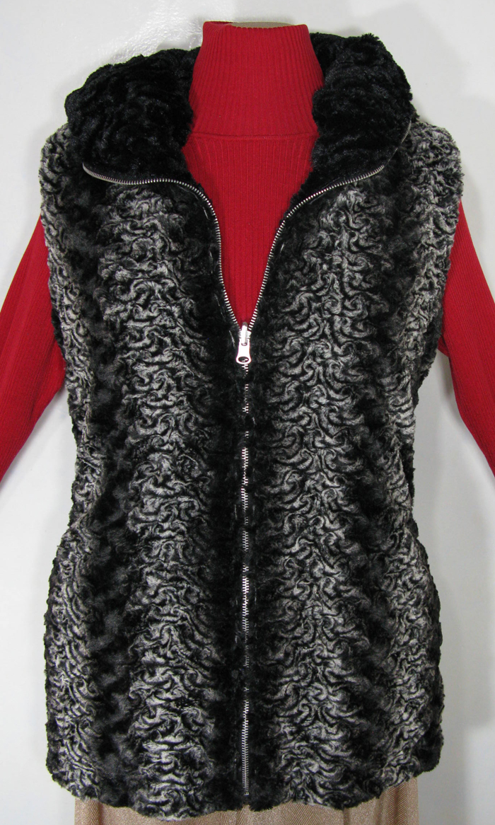 Reversible Hoodie Vest in Smoky Essence/Cuddly Black Faux Fur