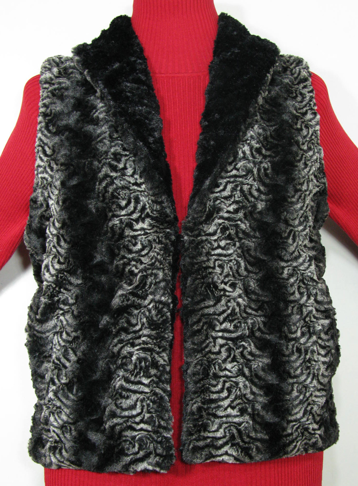 Reversible Vest in Smoky Essence/Cuddly Black Faux Fur