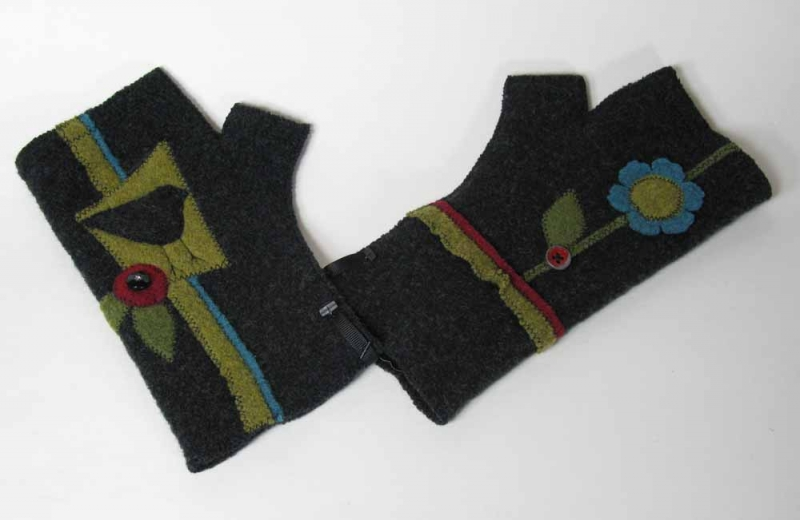 Wool Fingerless Gloves - Black Bird