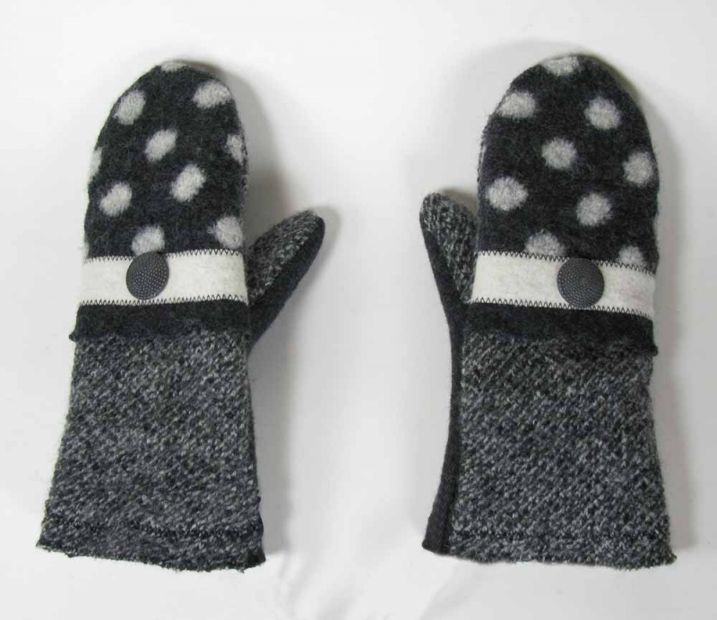 New Wool Mittens - Black Polka Dot