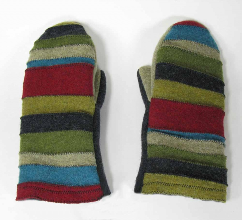 New Wool Mittens - Stripe