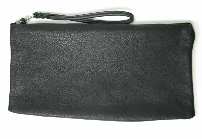 Large Zip-top Wristlet in Black