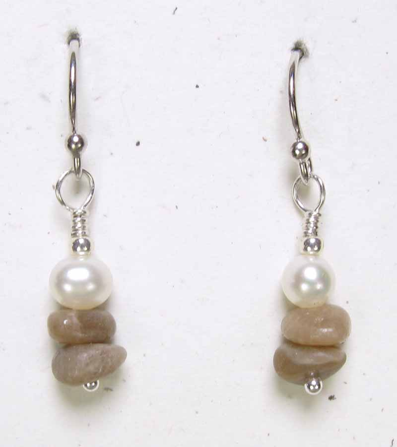 Stacked Petoskey n Pearl Earrings