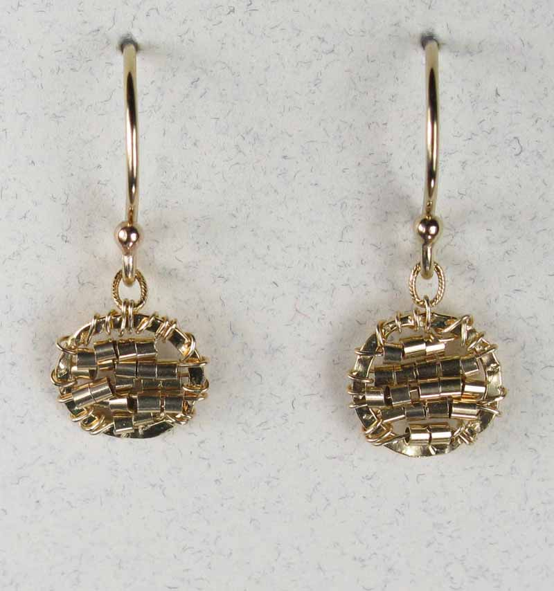 Round Woven Earrings in Sterling and Gold