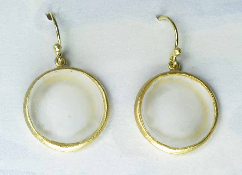 Round Cast Glass Drop Earrings in Pearl