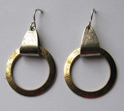 Earrings with Textured Ring
