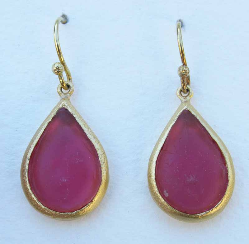 Cast Glass Pear Shape Earrings in Rose