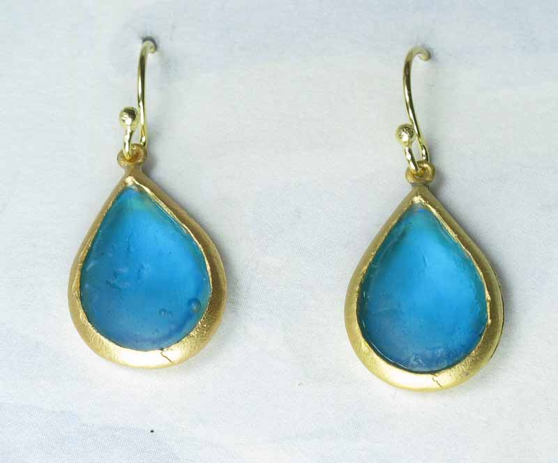 Cast Glass Pear Drop Earrings in Turquoise