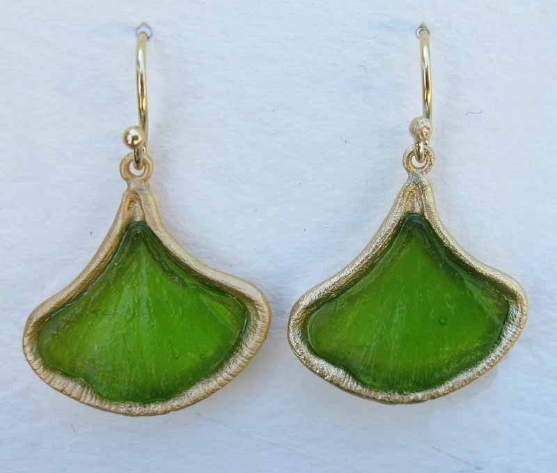 Small Ginkgo Earrings in Cast Glass