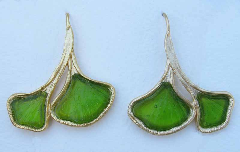 Four Leaf Ginkgo Earring in Cast Glass