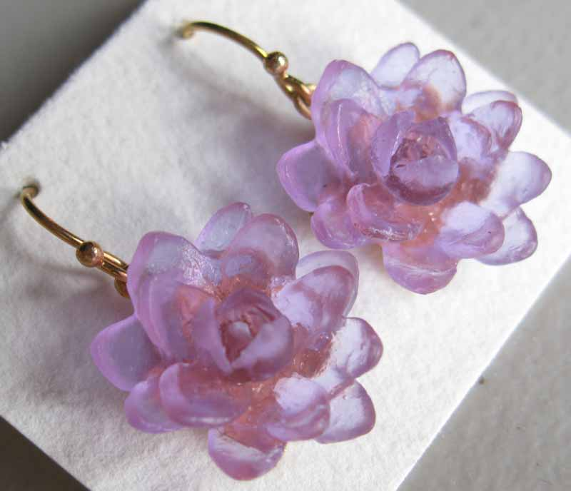 Glass Lotus Flower Earrings
