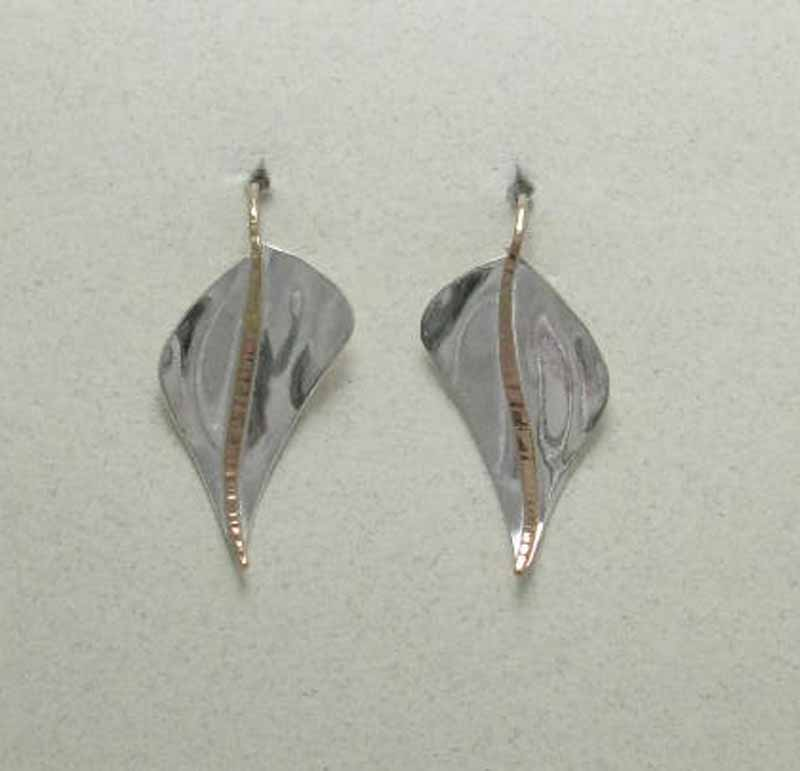 Flattened Leaf Earrings in Mixed Metals