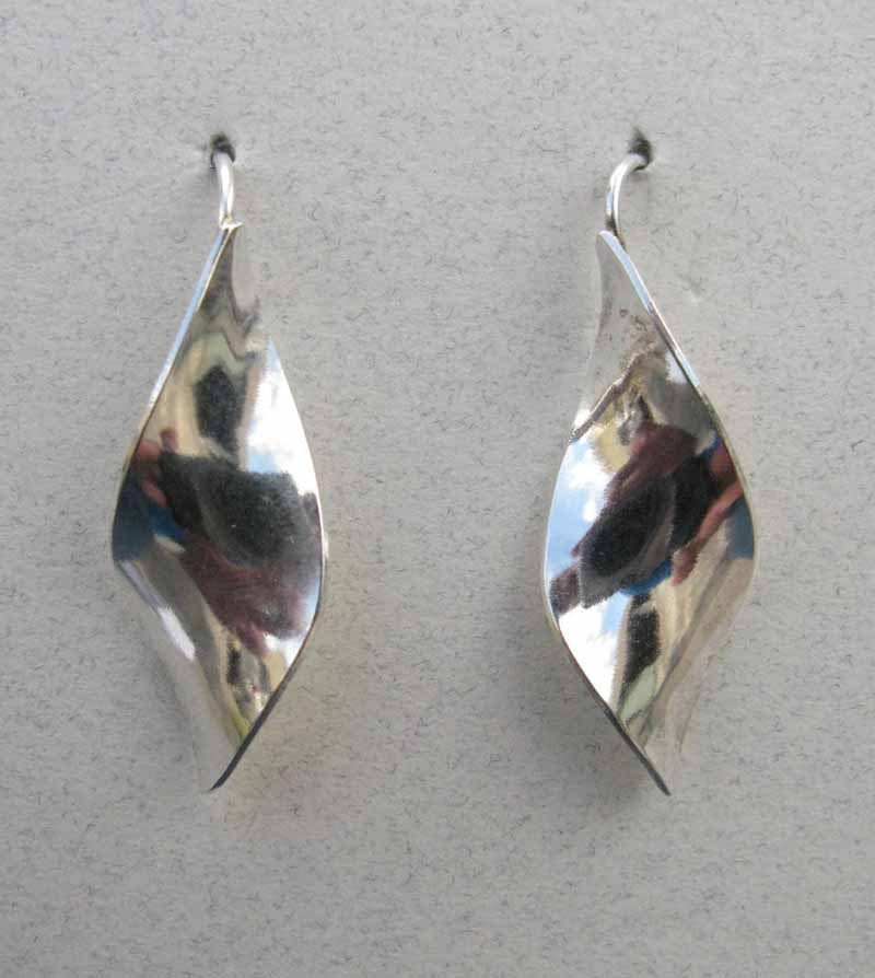 Curved Diamond Earrings in Sterling Silver