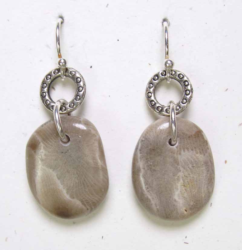 Large Petoskeys on Textured Ring Earrings