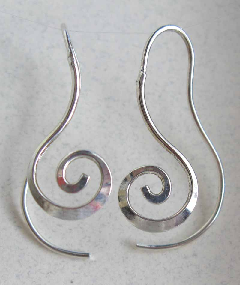 Long Spiral Earrings in Sterling Silver