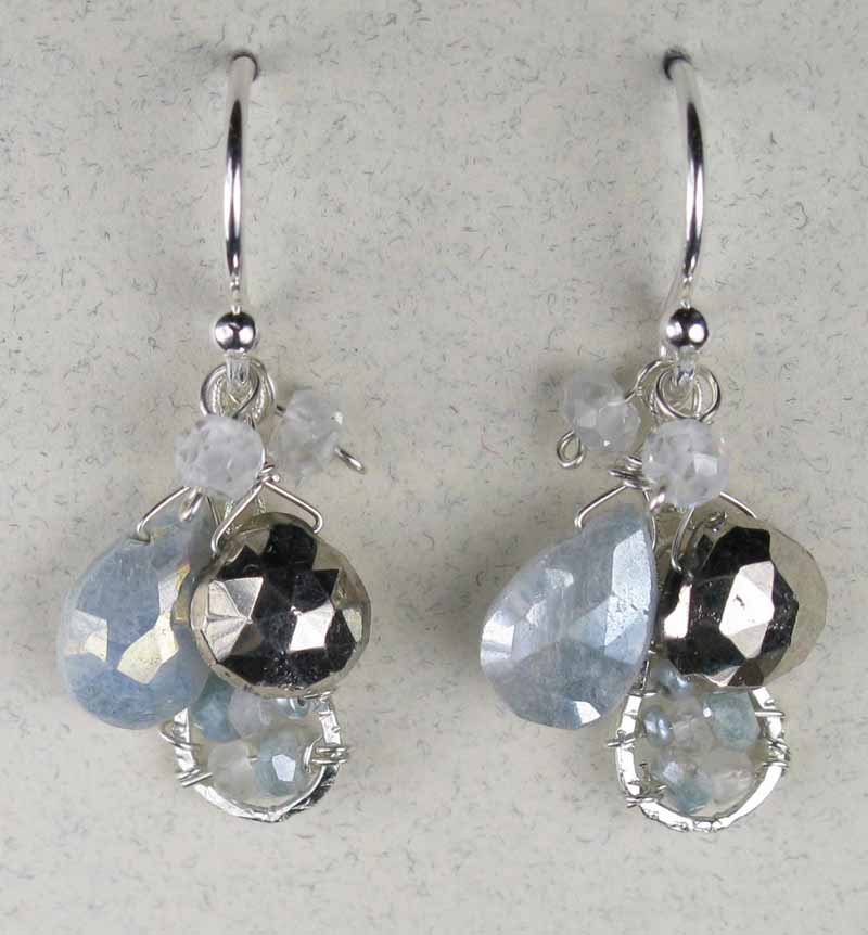 Gemstone Cluster Earrings in Blue-Silver Mix