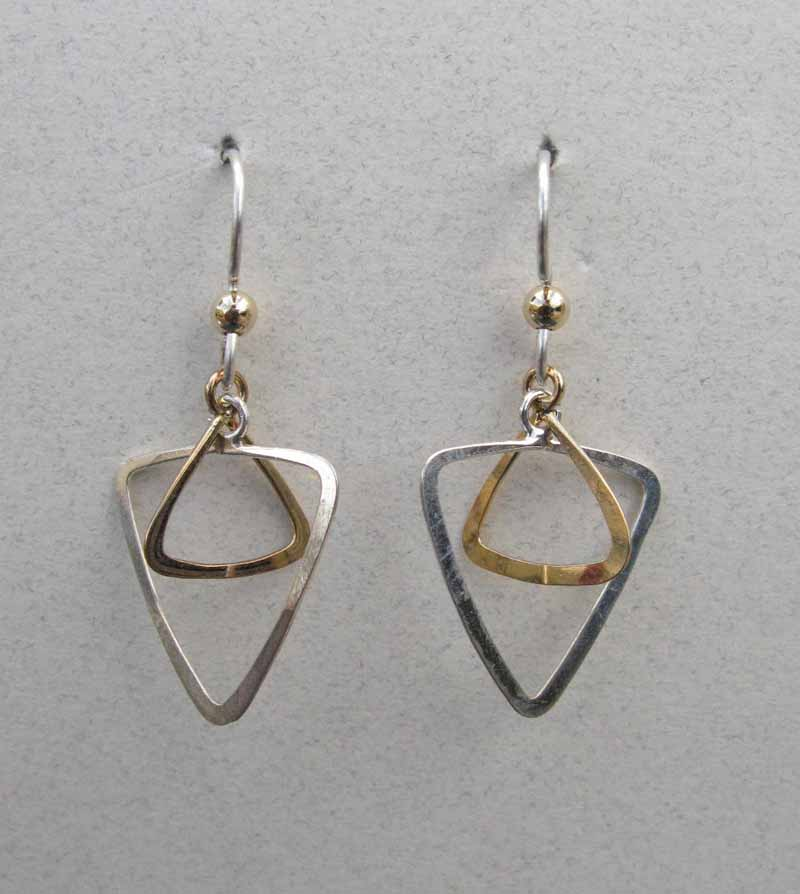 Open Triangle Hoop Earrings in Mixed Metals
